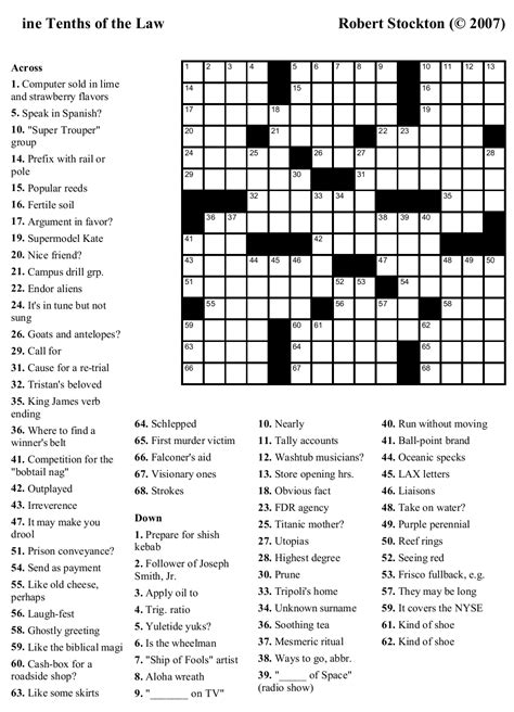 easy crossword puzzles free 6 best images of large print easy crossword puzzles