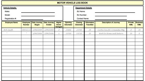 5 Vehicle Log Book Templates Free Sle Templates Record Book Template