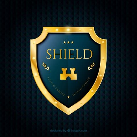 shield background background with golden shield vector free