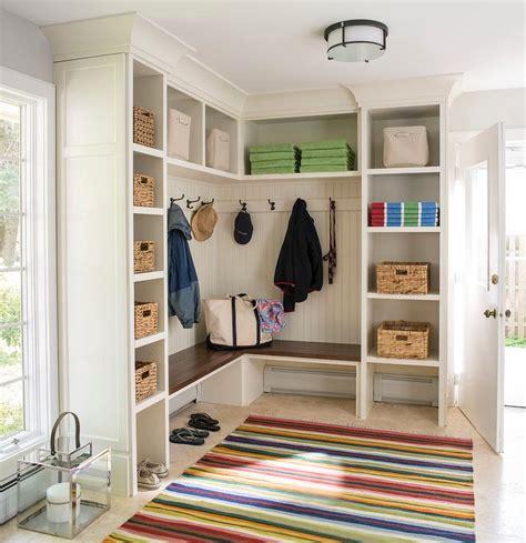 mudroom shelves l shaped mudroom bench design ideas