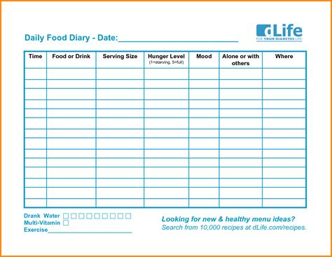 printable daily journal templates printable food diary log coles thecolossus co