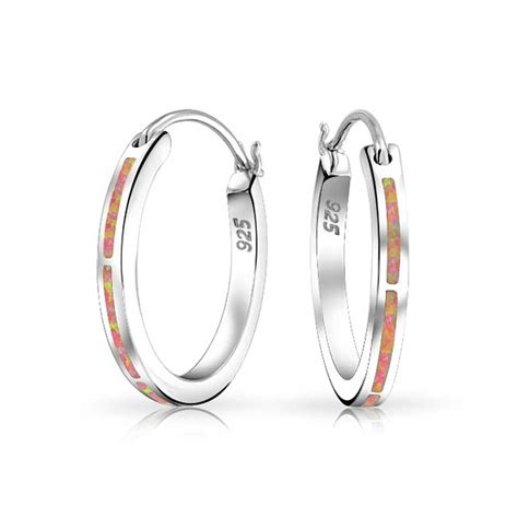 bling jewelry pink synthetic opal october birthstone 925 925 silver hoop earrings synthetic pink opal october
