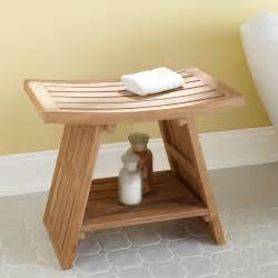 large teak asian style shower stool bathroom