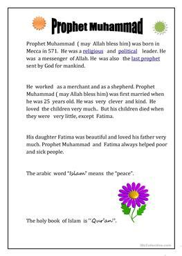 recount text biography nabi muhammad 7 free esl islam worksheets