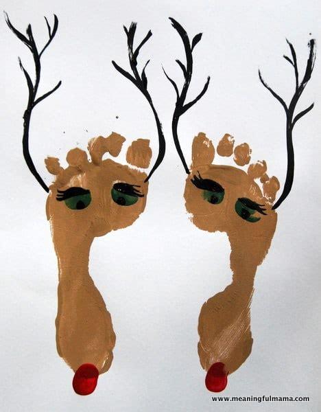 childrenss reindeer christmas crafts images reindeer foot prints for