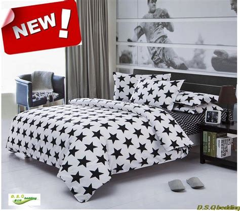 New Black White Star King Queen Full Size Single Double White Single Bedding Sets