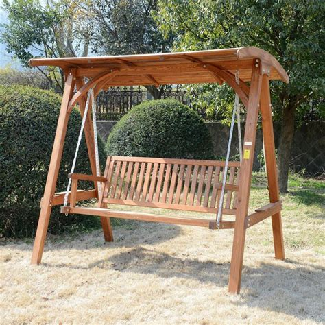 3 seat patio swing outsunny deluxe 3 seat hardwood a frame patio swing aosom ca