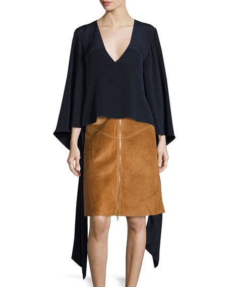 Tie Sleeve V Neck Blouse derek lam v neck blouson tie sleeve blouse navy