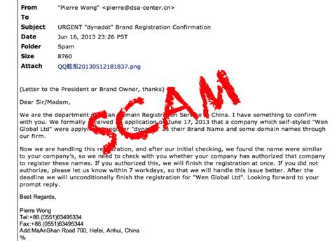 chinese domain scam email beware  chinese domain scams