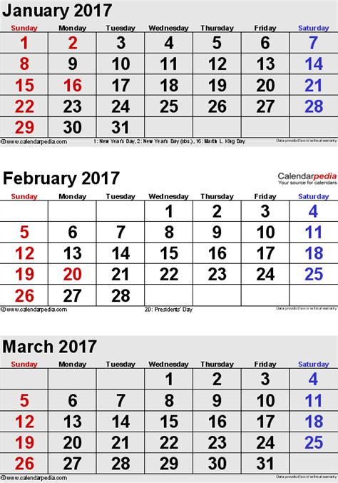 January 2000 Calendar February 2017 Calendars For Word Excel Pdf