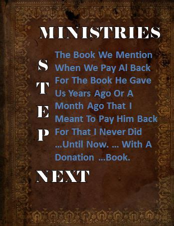 now that you mention it a novel next step ministries