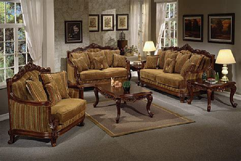 Living Room Furniture With Wood Trim Upholstered Fabric Sofas Striped Living Room