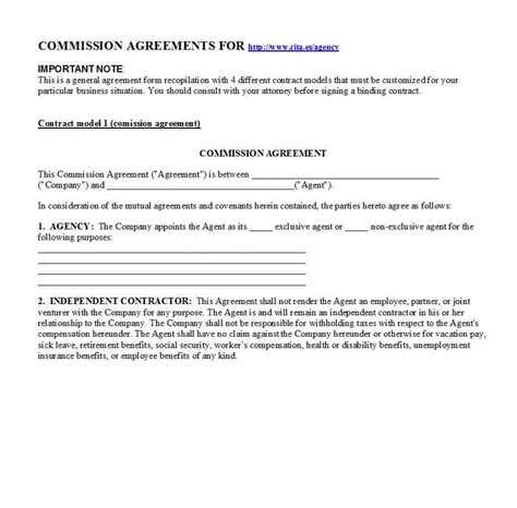 commission agreement template 36 free commission agreements sales real estate contractor