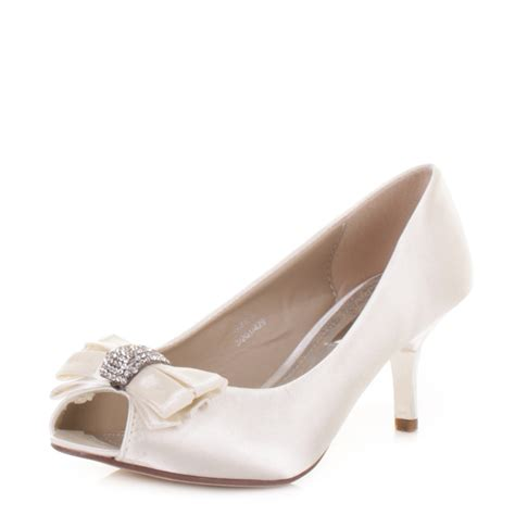Satin Shoes by Womens Mid Heel Diamante Peep Toe Ivory Satin Wedding Prom