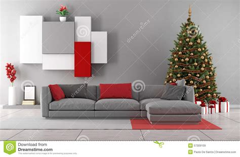 Living Room Presents Living Room With Tree Stock Illustration Image