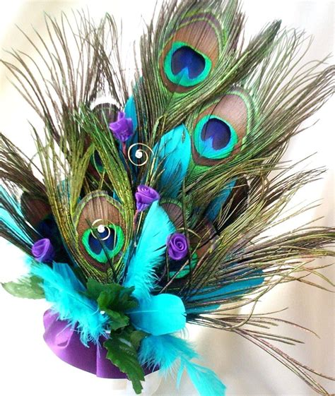 wedding cake topper peacock feathers turquoise by amorebride