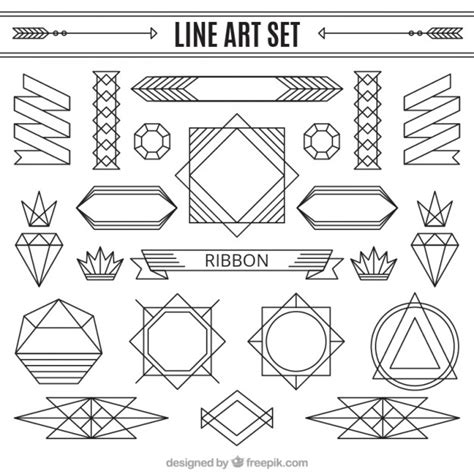 imagenes de vectores lineales set de ornamentos lineales descargar vectores gratis