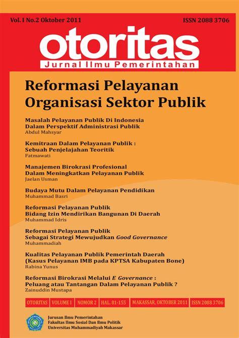 Buku Manajemen Pemerintahan Dalam Persepektif Pelayanan Publik jurnal otoritas vol 1 no 2 oktober 2011 by jurnal otoritas issuu