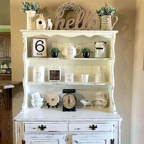 kitchen display ideas my hutch that i chalk painted and distressed for my