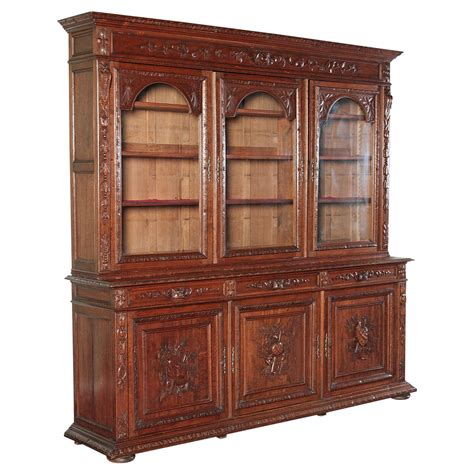 Vintage Bookcase With Glass Doors Antique Carved Bookcase Bibliotheque With Glass Doors At 1stdibs