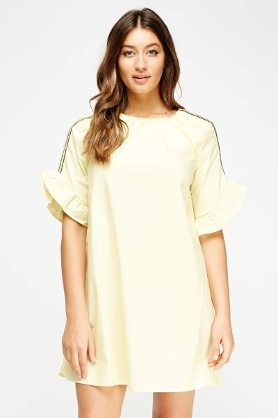 Flared Sleeve A Line Dress flared sleeve a line dress yellow just 163 5