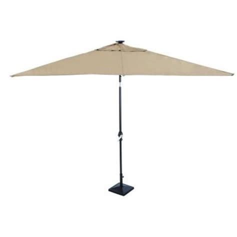Solar Patio Umbrellas Astonica 9 Ft Rectangular Solar Powered Patio Umbrella In Taupe