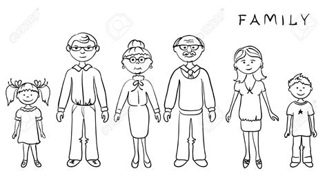 coloring pages of extended family family with grandparents clipart black and white