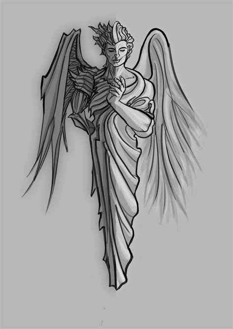 angel and demon tattoo design half half a half half