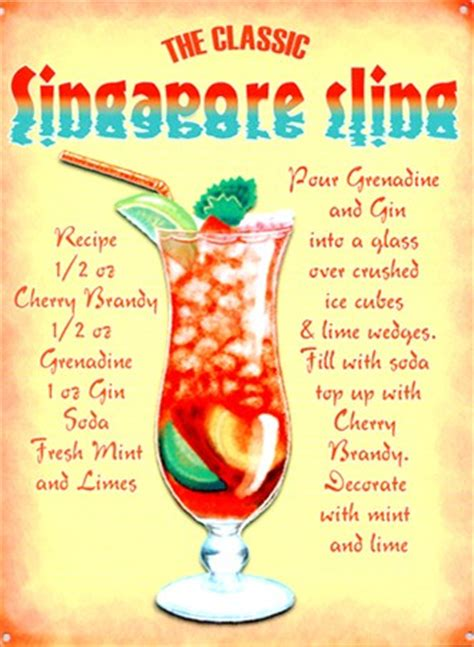 cocktail recipes poster the classic singapore sling cocktail recipe tin sign