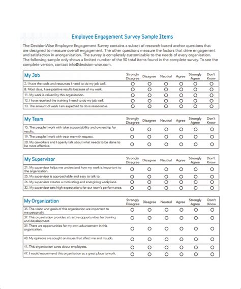 employee engagement plan template sle employee survey template 6 free documents in