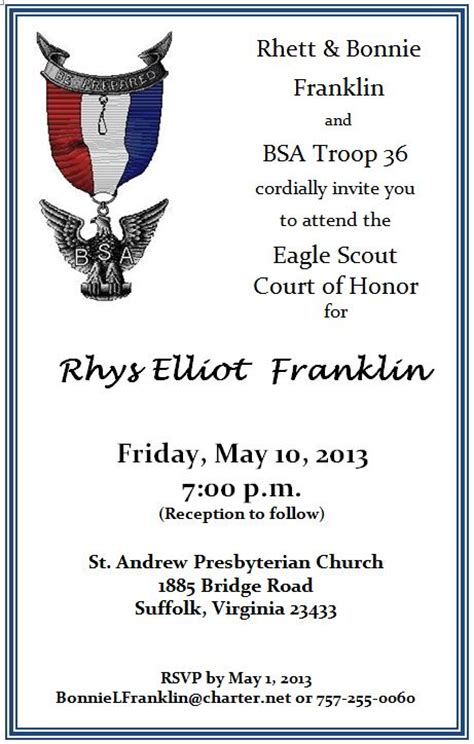 eagle scout court of honor invitation template rhys franklin eagle court of honor troop 36