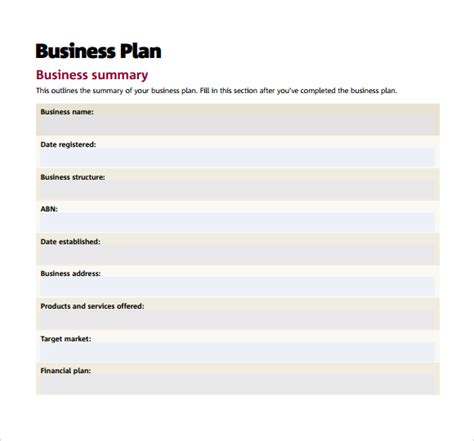 sba business plan template sle small business plan 9 documents in pdf word