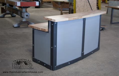 Metal Reception Desk Office Restaurant Sleek Metal Front Reception Desk The Industrial Farmhouse