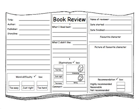 layout writing book book review template for kids pinteres