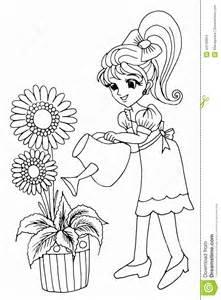 colouring book gardening stock illustration image 44130954