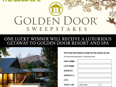 magazine sweepstakes golden door dr oz the good life magazine sweepstakes