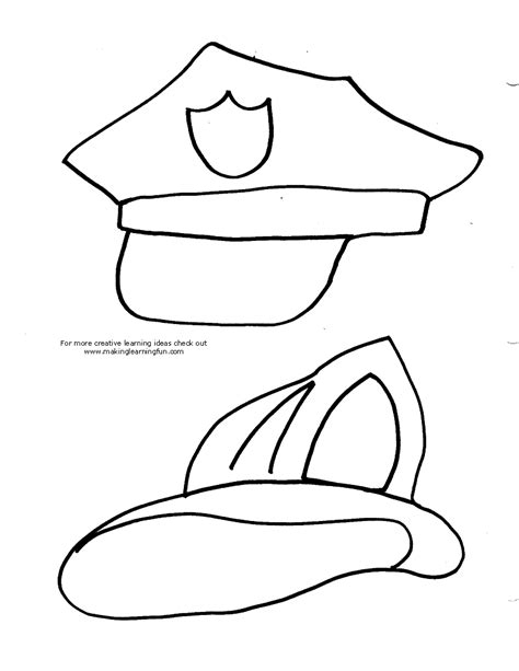 policeman hat coloring page policeman hat coloring pages