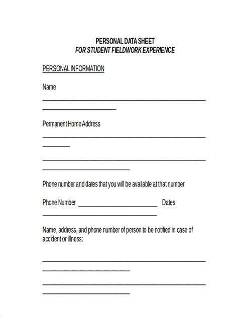personal fact sheet template basic personal information form template pictures to pin