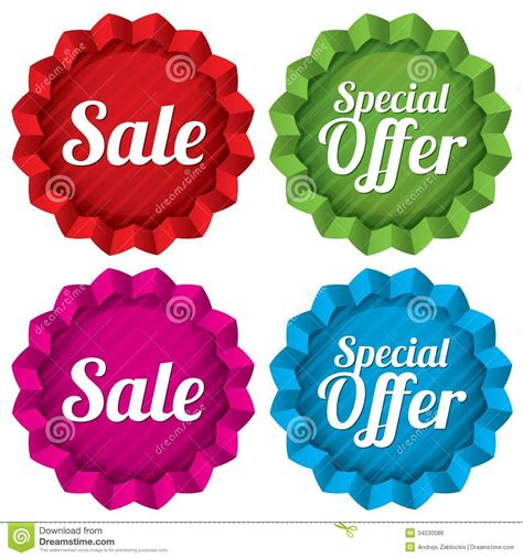 sale and special offer price tags set vector royalty