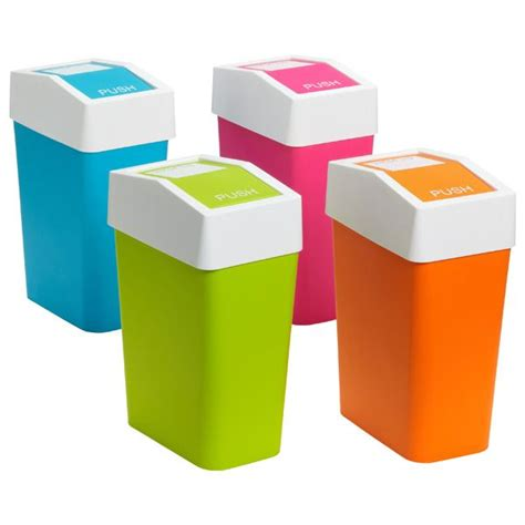 colored trash cans
