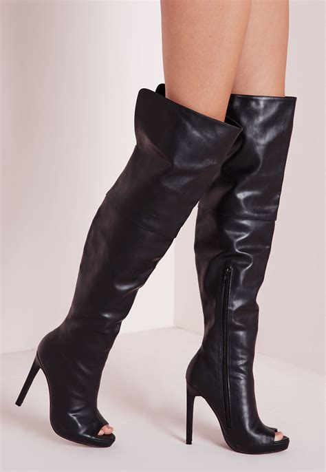 missguided faux leather thigh high peep toe boots black in