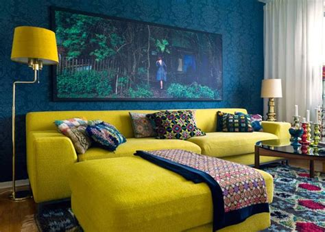 blue and yellow sofa trendy color combinations for modern interior design in
