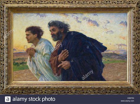 pierre et jean eugene burnand les disciples pierre et jean courent au tombeau le stock photo royalty free