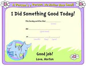 coloring pages good job appreciation horton certificate free coloring pages