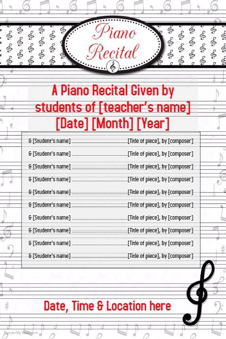 Piano Recital Music Concert Flyer Poster Invitation Postermywall Recital Ad Templates