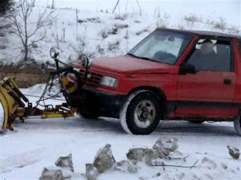cheap snow plow, geo tracker with a meyer 6' plow youtube