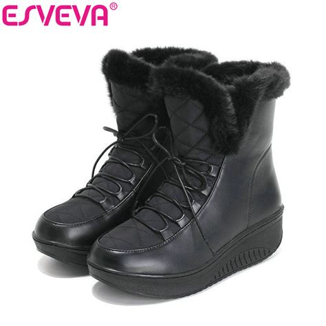 casual winter boots for esveva casual winter shoes warm fur lace up snow