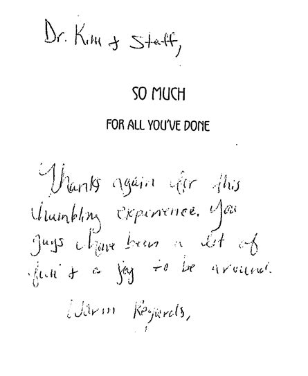 Thank You Letter Doctor After Surgery plastic surgery in san francisco dr roy testimonials