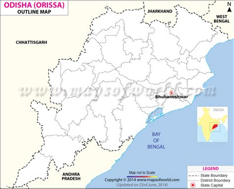 Odisha Map Outline by Orissa Outline Map