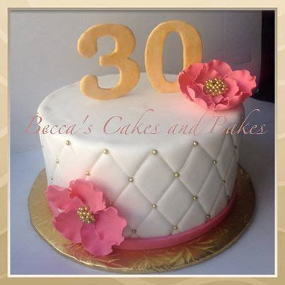 Quilted Gold and Pink 30th birthday cake #classy #elegant